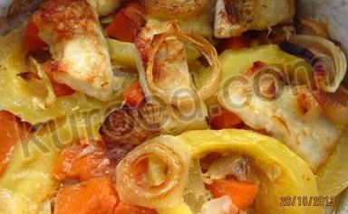 Рыба, запеченная с кабачками и тыквой